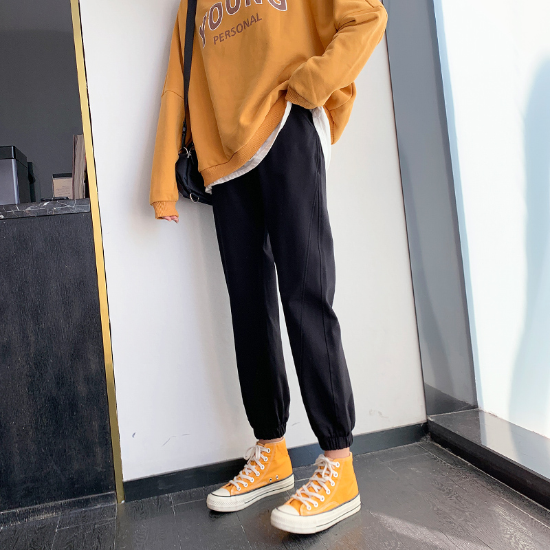 Sweatpants women loose-fitting feet casual thick cotton pants autumn and winter plus-winter plush plus thick outside wearing thin pants ins tide
