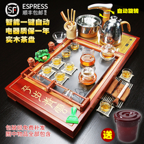 Glass tea set home fully automatic set of ceramic teapot kung fu teacout tea ceremony tea table solid wood tea plate