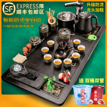The whole set of kung fu tea set office living room simple solid wood tea plate purple sand ceramic automatic electric furnace