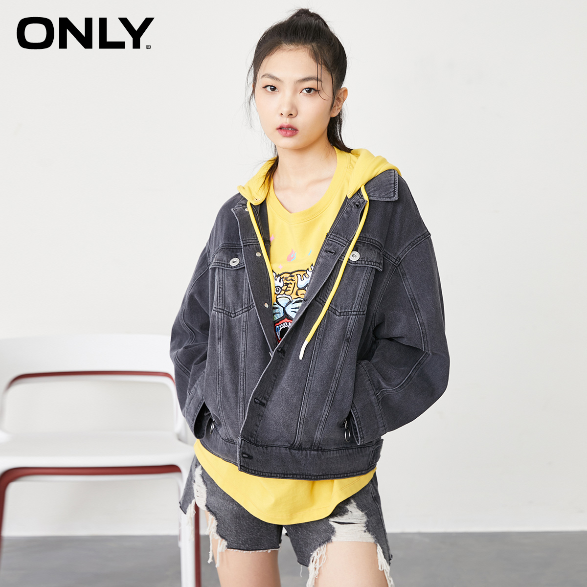 ONLY summer new fake two-piece short loose detachable hat denim jacket for women) 120354023