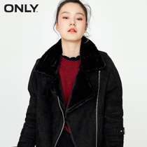 (1000-100) ONLY2017 autumn new frizzled feather PU windproof collar wool coat women |117322513