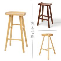 Nordic Bar Chair solid Wood bar Chair Bar Bench Cafe KTV high chair bar stool high stool modern simplicity