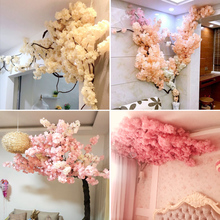 Simulation Cherry Blossom wedding big cherry tree indoor living room air conditioning pipe ceiling net red decorative plastic artificial flower cane