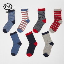 C&A Boy Multi-color patterned mid-sleeve socks Spring comfort stretch cotton socks combination CA200203866
