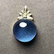 Aya Luo (jewelry)natural Brazilian ice species Sea Blue Devil blue 18K gold inlaid pendant clavicle chain female