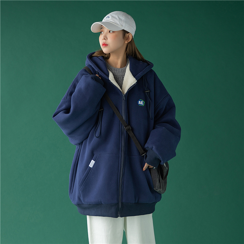 UBUIE fish dry lamb wool coat female winter 2020 new loose Korean version of thick cotton T plus cotton clothing