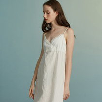 452d10d2ae Pure white cotton dress lace home Sling nightdress Forbedfellow original  design brand