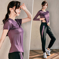 Yoga suit Womens spring summer outdoor gym sports suit Womens morning running suit Quick-drying clothes loose large size new