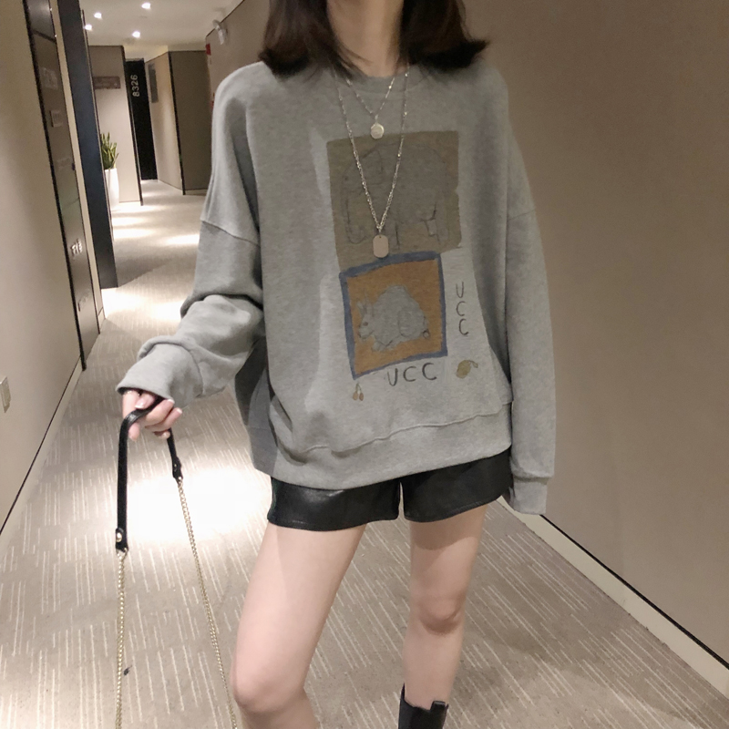 High-end station guard women 2021 spring and autumn new Korean version of the round collar loose hundred show thin gray bf lazy wind