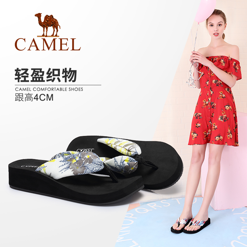 [The goods stop production and no stock]Camel women's shoes 2018 summer new fashion Korean version wearing thick bottom non-slip beach sandals high-heeled flip-flops