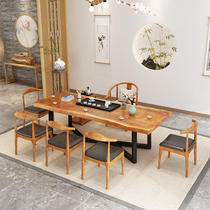 Solid wood large board tea table and chair combination New Chinese wood tea table Office meeting shop Bed and breakfast leisure table and chair