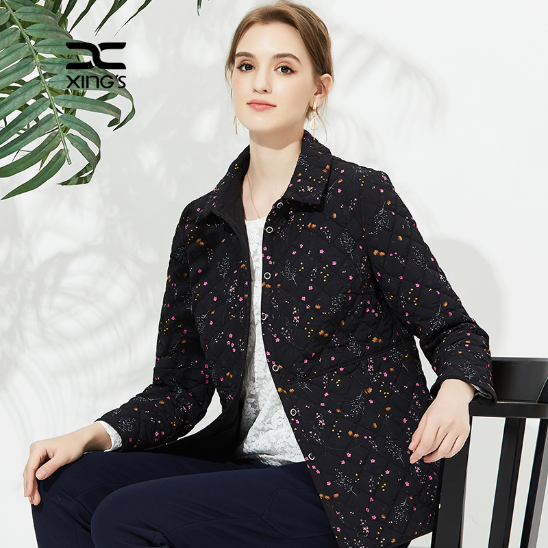 Xings womens floral quilted jacket 2020 new womens thin cotton coat short loose large size small cotton coat light