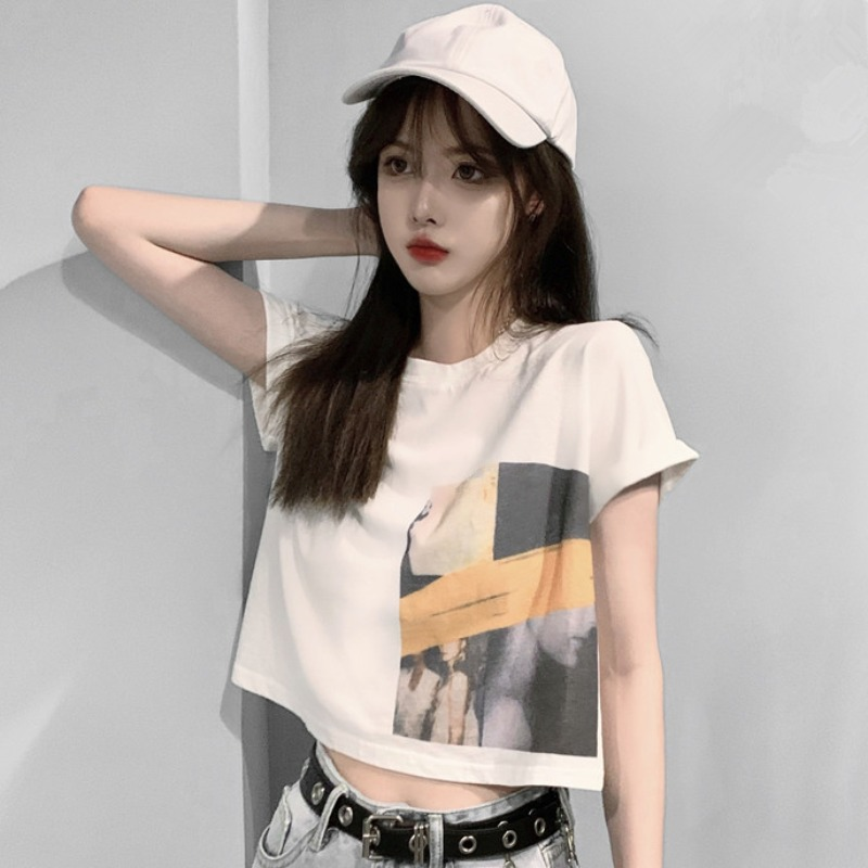 2021 summer new Korean printing crew neck pure cotton short-sleeved t-shirt fashion white loose short top female tide