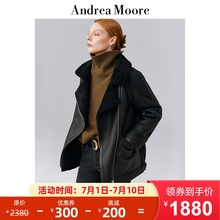 Andrea Moore original women's clothing sheep fur one piece leather coat women leather fur coat short coat