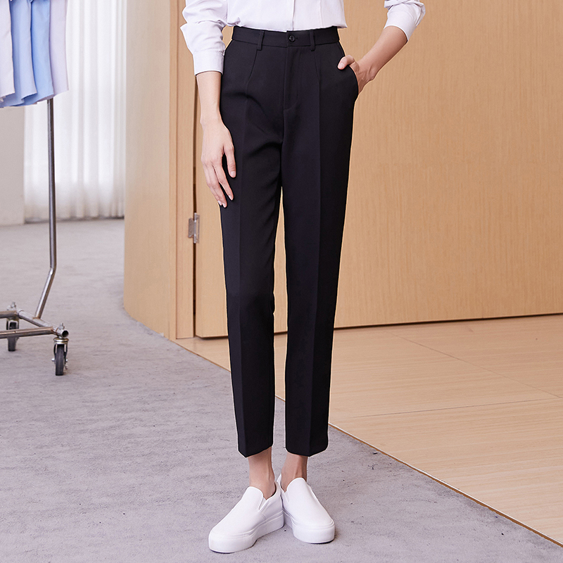Black professional suit pants women 2021 spring and summer thin straight trousers work formal work pants women nine pants