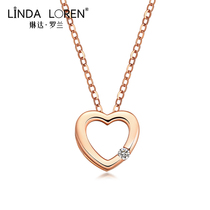 Linda Roland 18k rose gold necklace female color gold collarbone chain love solitaire pendant birthday gift to his girlfriend