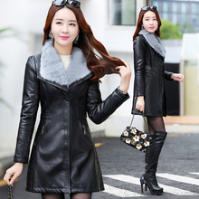 Women in leather wear 2018, autumn and winter, a new type of fur and leather, a large code plus a pile, a thick body, a thin windbreaker jacket.
