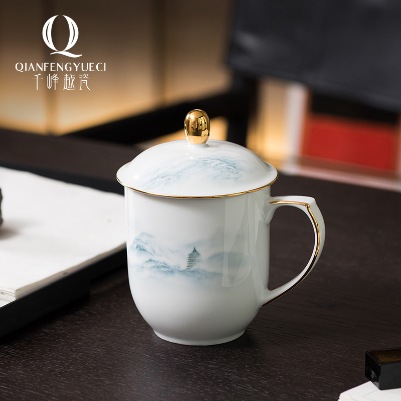 Qianfeng Yue porcelain porcelain office with ceramic cups with cover handle mens teacups personal high-end household