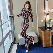 Joint Pants Female Spring and Autumn 2019 New Vertical Stripe Slender High Waist Elastic Large-Size Dress Suit Dating Dress