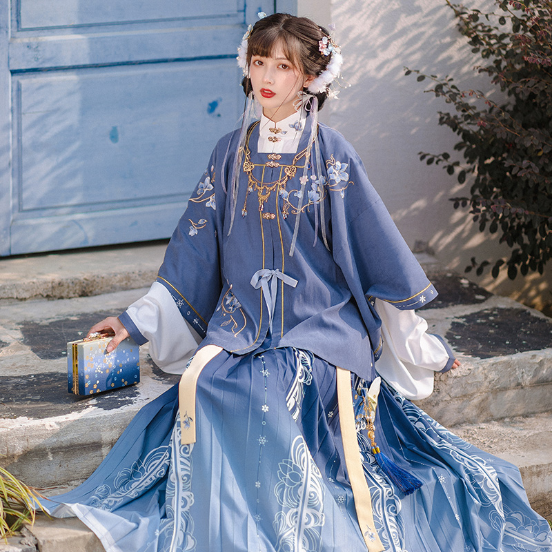 Chi Xia:Yu Xuehang Ming short shirt pleated skirt three-piece set original modified stand-up collar Hanfu womens full set spring daily