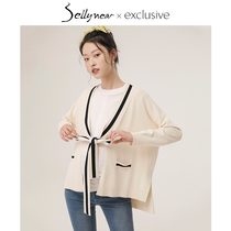 Sellynear pregnant women knitted cardigan jacket long paragraph sweet cute lace slits short paragraph outside wear cardigan