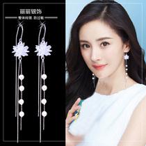 Summer tassel earrings 2021 new pop ice crystal flower super fairy earrings long temperament anti-loss sterling silver ear line