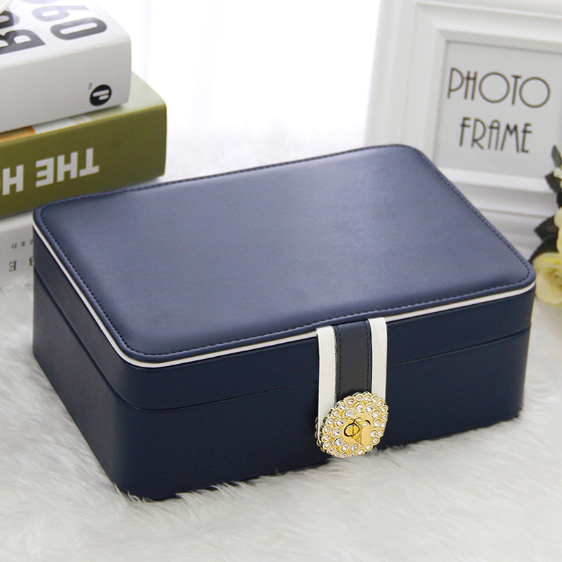 Large-capacity princess European jewelry storage box jewelry box hand-decorated earrings earrings earrings box with locks
