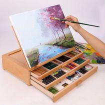 三层榉木制抽屉式画架桌面台式收纳夹子素描写生油画水粉彩木质可提式手绘8开K画板架子儿童成人绘画手绘彩绘