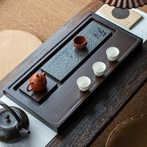 Small bridge flow water whole block ebony tea plate solid wood household simple size size rectangular drainage tea table Zen