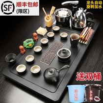 Чайный поднос Чайный столик Автоматическая индукционная плита Большой чайный сервиз Кунг-фу Бытовая гостиная простой набор керамического фиолетового песка
