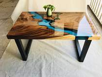 Ins modern simple solid wood dining table) INS Nordic conference table Blue River resin table) creative coffee table