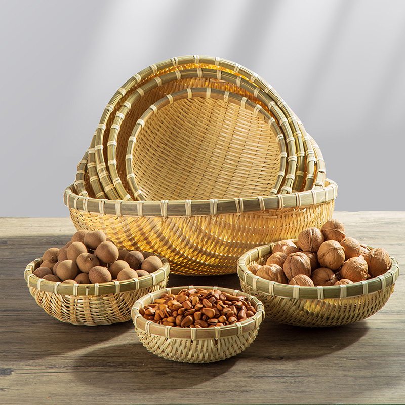Bamboo woven products round bumpy household farm fruit bread basket dried fruit snacks to collect small baskets washing bamboo baskets