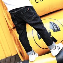 Мальчики джинсы весна осень детские брюки весна 2020 новый плюс бархат прилив в большой ребенок мальчик газ один бархат брюки
