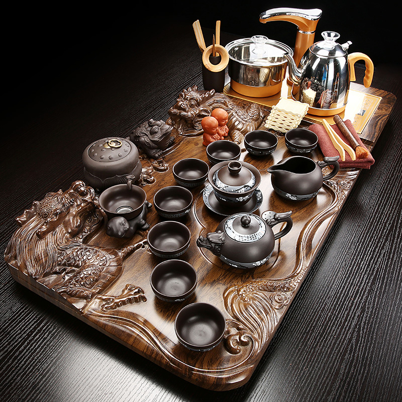 Tea set tea sets home three-dimensional tea plate living room office guests high-end kung fu solid wood tea table fully automatic