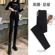 Black leggings women wear spring and autumn 2021 New tight high waist magic nine points pencil small feet small black pants