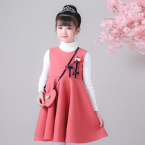 Girls dress autumn and winter princess dress hanfu little girl sweater vest skirt Western childrens skirt New Years dress