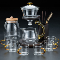 Glass lazy semi-automatic tea set Gongfu tea cup set Household magnetic magnetic lead-out water teapot tea artifact