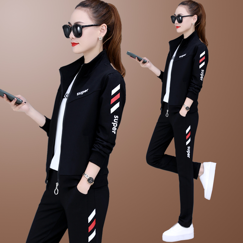 Fashion foreign air casual wear sports suit female three-piece set 2021 spring and autumn new large size womens running sweatshirt