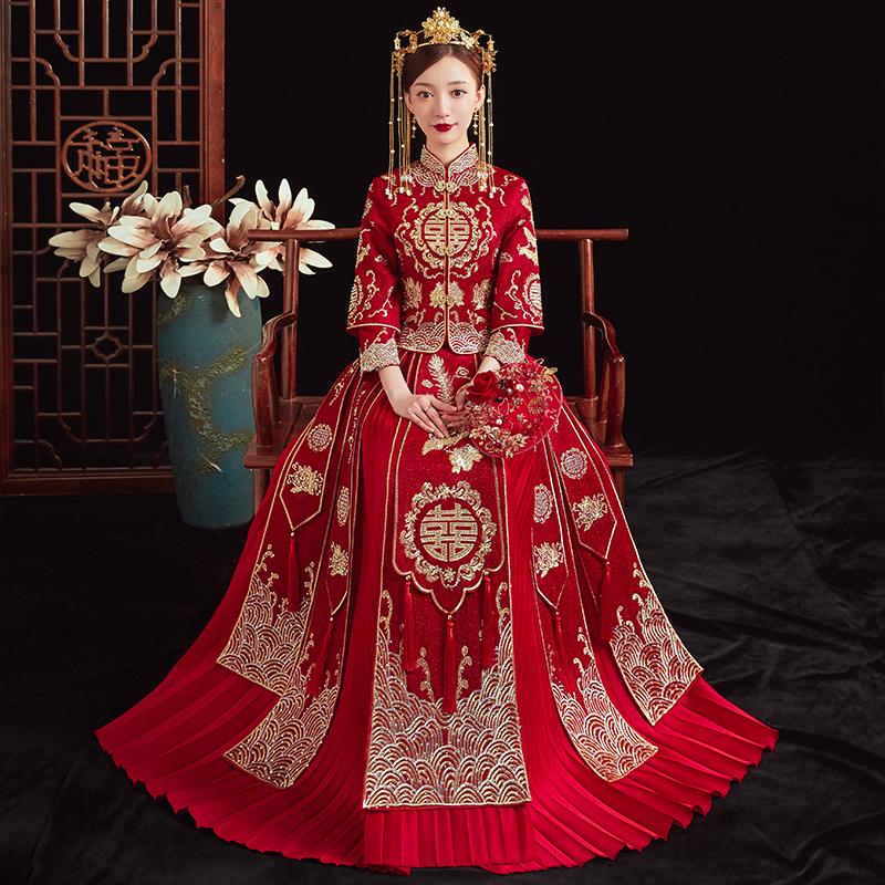 Xiuhe clothing 2021 new wedding Chinese bride wedding dress Wedding dress Dragon and phoenix coat Female toast summer 2020