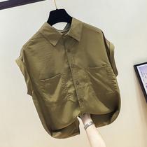 Chiffon shirt womens short-sleeved 2021 summer new loose retro solid color fashion design sense niche thin top