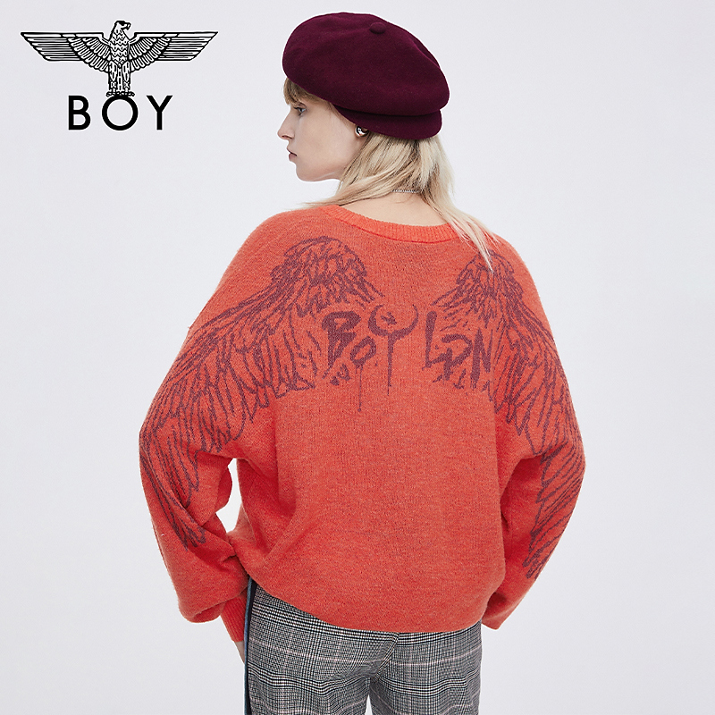 boylondon flagship official website 21 spring feather wings LOGO jacquard orange couple warm sweater 500515