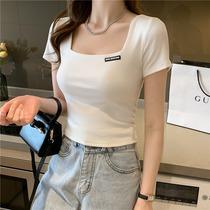 Square collar short-sleeved T-shirt women slim slim 2021 summer new white cotton temperament high-waisted short top tide