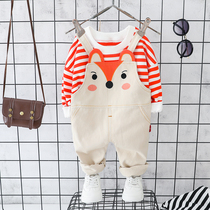 Girls spring and autumn clothes set 2020 new Super Air childrens clothes autumn baby hipster pants two sets of Tide