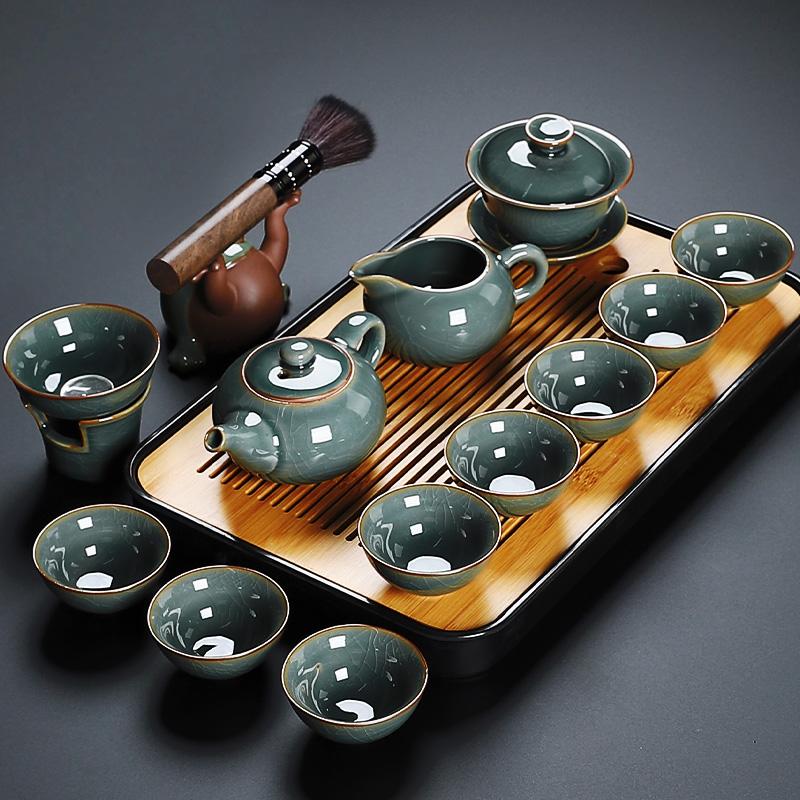 Brother kiln tea set home living room office will guest small tea table tea plate tea plate tea cup high-end luxury