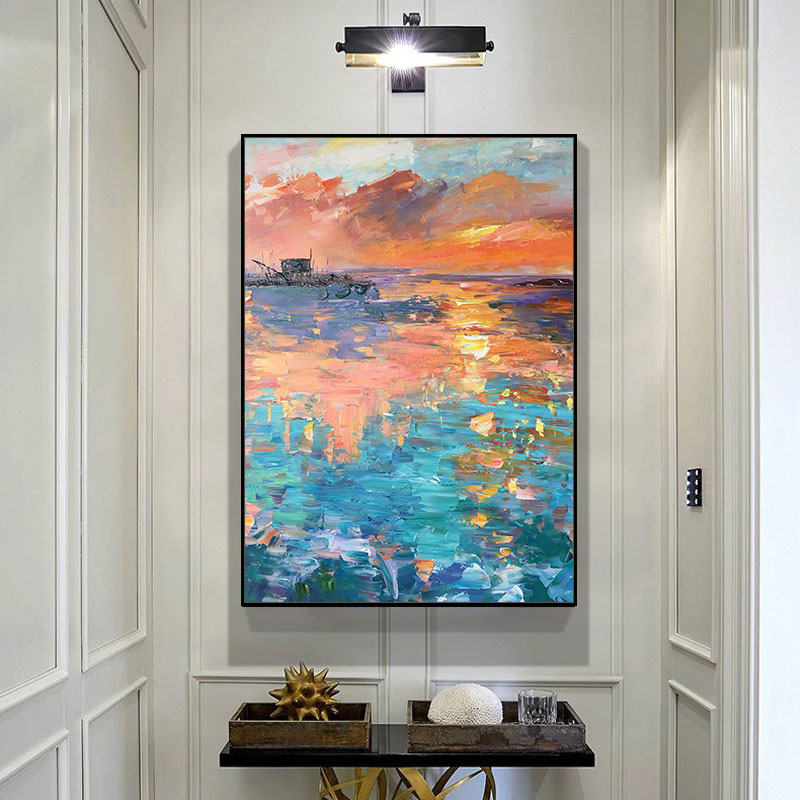 Pure hand-painted oil painting living room decoration corridor porch hanging Abstract fresco verticals restaurant sunrise at sea