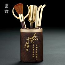 Pure copper ebony Kung Fu tea accessories set Tea spoon raising pot Pen Tea ceremony 6 Six Junzi tea knife Tea making tools