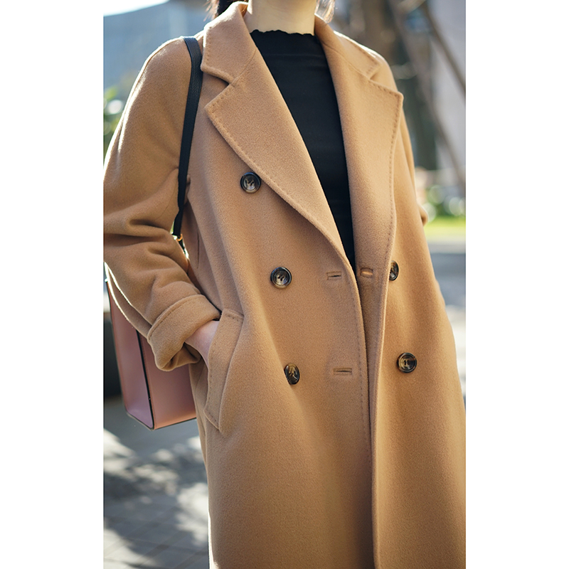 2020 high-end camel-colored double-row buckle double-sided cashmere coat female medium-length version of wool sub-hair coat 101801