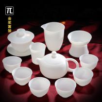 (Gold Award)Thin-tire Kung Fu Tea Set Home office Tea Sheep fat Jade White Porcelain Cover Bowl Teacup Teapot