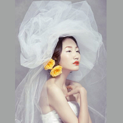 The new wedding veil caught other shooting hard yarn roving yarn Korean white fluffy bride veil bare plain yarn yarn