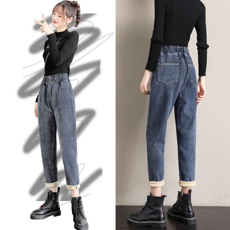 Plus-plush plus-thick jeans womens loose high-waisted autumn winter 2020 new show thin straight daddy womens pants tide